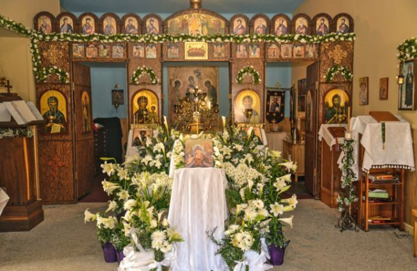 Inside the church on Pascha morning.