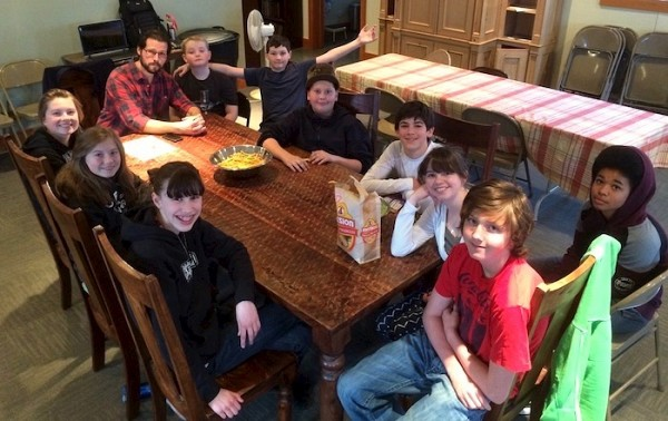 The youth group meets for fellowship on the Feast of the Annunciation.
