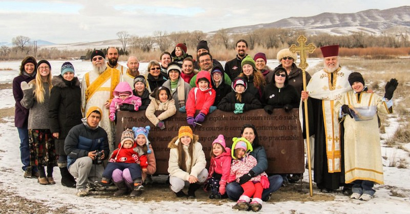 Parishioners gather for Theophany services at Missouri Headwaters State Park.