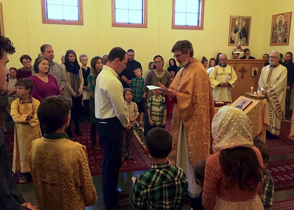 Our parish grows as a catechumen enters the Orthodox Church.