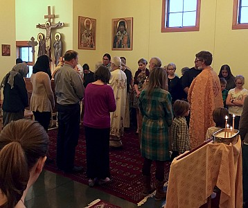 The faithful during the Divine Liturgy.