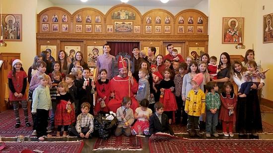 Church school students with Saint Nicholas.