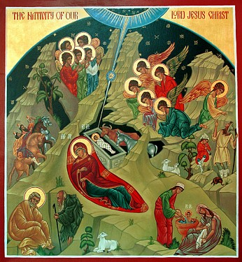 An icon depicting Christ's nativity.